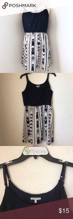 Navy & White Tribal Print Dress Navy blue colored - crocheted empire waisted bust - adjustable straps - tribal print skirt Charlotte Russe Dresses