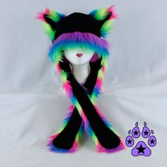 NEON RAINBOW Fur Kitty Cat rave bright Hat fleece winter anime strap... ($48) ❤ liked on Polyvore featuring accessories, hats, fleece animal hats, strap hats, fleece ski hat, cat hat and fur hat
