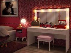 Penteadeira de Mesa com Espelho 3 Gavetas - Madesa Carly