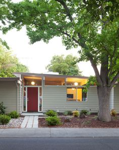 Mid century modern house, exterior - Definitely not a cottage, antebellum mansion, Victorian painted lady, or craftsman bungalow!  -- Clean lines cool.