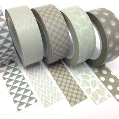 Grey Washi Tape Set of 5 15mmx10m Rolls WT0086S £8.00