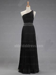 one shoulder chiffon black elegant long bridesmaid dress | Cheap full length Sale
