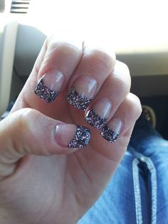 Glitter tips black/purple sparkle