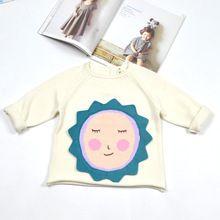 Baby girls sun flower sweaters cotton yarn tee long sleeve Christmas gift camisola do bebe do inverno O-Neck knitting sweater(China (Mainland))