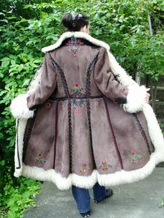 Vtg 70s Hungarian Kalocsai Shearling Sheepskin Long Fur Coat 10/12 Stunning!