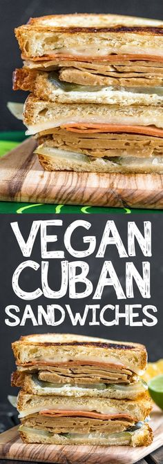 Super tasty vegan Cuban sandwiches stacked with veggie ham, mojo marinated seitan and all the fixin's. This is a recipe worth making!