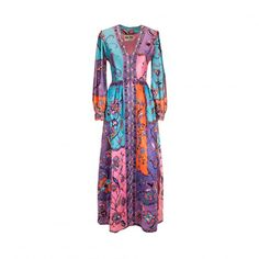 Long multicolor quilted dress, 1970s | LaDoubleJ 1