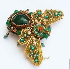 manual brosa.  Butterfly broșă (agat verde, Swarovski).  Nastya Count bijuterii lucrate manual.  Magazin online Fair Masters.