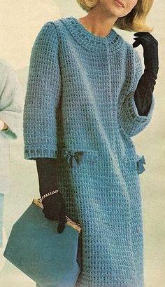 Fabulous Crochet a Little Black Crochet Dress Ideas. Georgeous Crochet a Little Black Crochet Dress Ideas. Crochet Coat, Knitted Coat, Crochet Jacket, Crochet Cardigan, Crochet Shawl, Crochet Clothes, Knit Dress, Vintage Knitting, Vintage Crochet