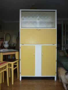retro kitchen larder cupboard - vintage kitchenette - re painted yellow Kitchen Larder Cupboard, Pantry, Kitchen Appliances, Cupboards, Cabinets, Kitchenette, Top Freezer Refrigerator, Kitchen Furniture, Vintage Kitchen