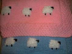 Baby Blanket with fluffy lambs by CandyCuddlies on Etsy