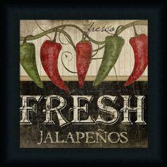 Tangletown Fine Art Fresh Jalapenos by Jennifer Pugh Giclee Print on Gallery Wrap Canvas, 24 Kitchen Canvas, Kitchen Prints, Kitchen Art, Country Kitchen, Kitchen Ideas, Framed Art Prints, Poster Prints, Canvas Prints, Canvas Canvas