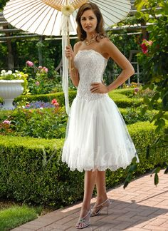 Wedding Dress General Description Quick Overview: Wedding Dresses/ Wedding Gowns -- Stunning Lace Short Bridal Gown Fabric: lace, crepe T Mini Wedding Dresses, Short Wedding Gowns, Custom Wedding Dress, Tea Length Wedding Dress, Wedding Dress Styles, Bridal Gowns, Bridesmaid Dresses, Tulle Wedding, Dream Wedding
