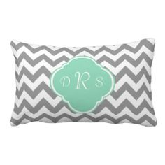 Grey & White Zigzag Custom Monogram Pillows