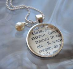 NURSE Vintage Dictionary Pendant Necklace $21.00
