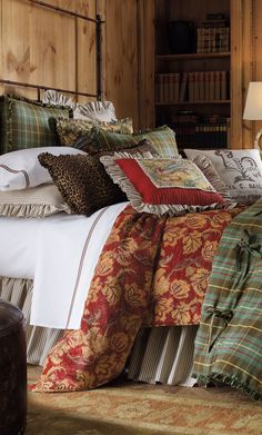 #Cabin Interiors & Decor ... #log #cabins #lodge #bedding #decor