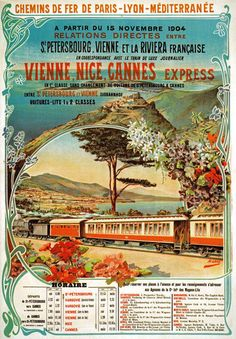 TX122 Vintage Vienne Nice Cannes Express French Railway Travel Poster A2/A3