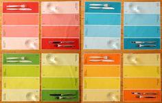 Paint chip Placemats. Nice idea!