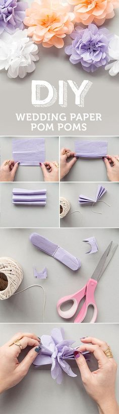 Diy paper flowers - diy wedding paper pom poms - how to make a paper flow. Tissue Paper Flowers, Diy Flowers, Tissue Poms, Wedding Flowers, Flower Paper, Flowers Decoration, Paper Poms, Flower Diy, Pom Pom Flowers