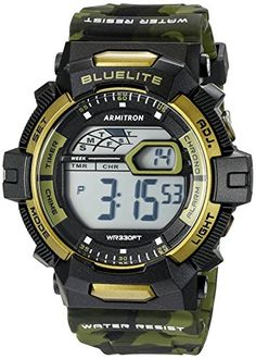 Armitron Sport Mens 408278CGN Digital Watch with Camouflage Band >>> To view further for this item, visit the image link.Note:It is affiliate link to Amazon.