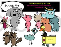 """This """"Thank -o- rama"""" Clipart collection includes all the images shown in the sample picture and more. This grouping is a parody of the book The Thank You book. They are adorable! This pack includes 36 different clips:  * Black line masters of all clips * Piggie * Elephant * Squirrels * Cat * Bat * Group of Animals * Pigeon * etc."""