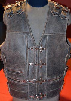 Thick GREY genuine leather, Hard gear, top quality handmade Biker vest, Motorcycle vest.  by MPBikerTailor