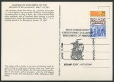 """United States Scott #2616 (24 Jan 1992) World Columbian Stamp Expo '92: Landing of Columbus tied to postcard with """"special"""" Columbus cancellation:  Pictorial …Ship, STAMP EXPO / STATION, April 11, 1992, Anaheim, CA 92802, 500th Anniversary Christopher Columbus Discovery of America.  Postcard showing the painting """"Landing of Columbus"""" by John Vanderlyn. """"As Christopher Columbus plants the flag of Spain, the Pinzón brothers hold other standards, and a Franciscan Friar bearing a crucifix."""