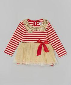 Look at this #zulilyfind! Red Stripe Sequin Dress - Toddler & Girls by Paulinie #zulilyfinds