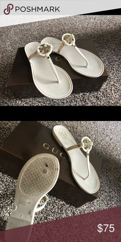 ab227f3d8 Tory Burch Sandals Tory Burch thong rubber sandals with gold logo. Dose not  have a box but I will ship them in the box that the photo s were took with.