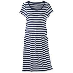 Liz Lange® for Target® Maternity Short-Sleeve Shirt Dress - Navy/White Baby shower dress with gold jewlery