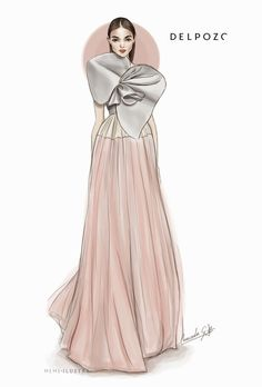 Fashion illustration - Delpozo dress sketch // Mercedes Galan