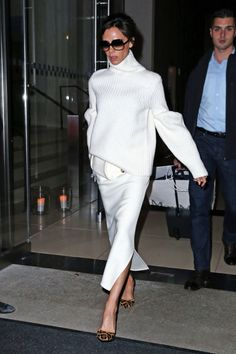 Who: Victoria Beckham What: All White with Leopard Heels Why: The designer stepped out in a two-piece all-white look, punctuated by leopard heels for added interest. Get the look now: Aquazzura shoes, $995, shopBAZAAR.com.