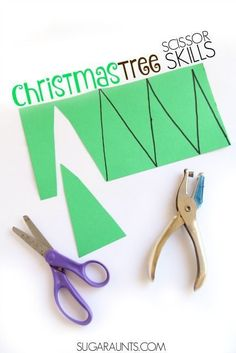 Art therapy activities christmas Christmas Tree Scissor skills craft for kids this holiday season, perfect for preschool parties or play dates while working on Occupational Therapy goals like cutting on lines. Holiday Activities, Holiday Themes, Christmas Themes, Christmas Activities For Preschoolers, Christmas Traditions, Christmas Crafts For Kids, Kids Christmas, Christmas Parties, White Christmas
