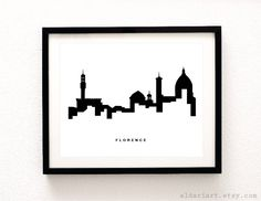 Florence Italy Skyline Print - Florence Print - Florence Cityscape Print Italy Wall Art - Florence Poster - Modern Decor - Minimalist Art by AldariArt on Etsy