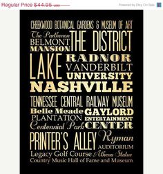 ON SALE Nashville Tennessee Typography Art by LegacyHouseArt, $39.95