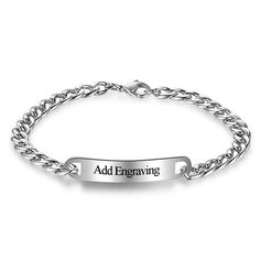 Custom Charm Bracelets Engrave Name Bracelets & Bangles Personalized Jewelry DIY Gift For Women Men(BA101854)