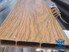 Close-up photo for wood grain aluminium profile form Hiwant aluminium industry.