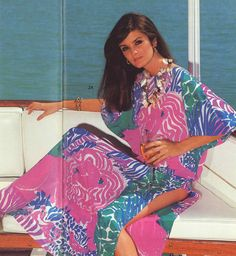 "From Lilly Pulitzer's Late Summer/Fall 1982 catalog. It read... ""This vibrant colored caftan was a star on the Merv Griffin show!"" Product placement at its best!"