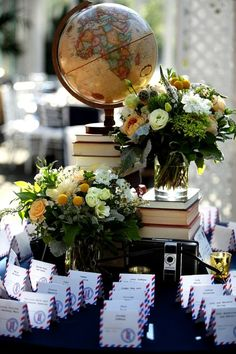 Vintage books, Globes, Postcards, and color - love this Brooklyn Wedding!