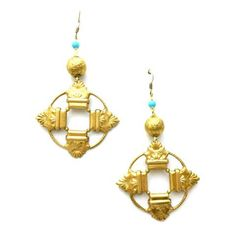Vintage Turquoise Gold Ball Etched Gold Tone Open Circle Stamp Earrings