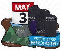 Camera with photos, calendar with reminder date and greeting ribbon. Freedom Day, World Press, Free Vector Art, Image Now, Calendar, Celebrities, Illustration, Celebs, Illustrations