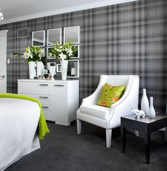 Super smart bedroom to appeal to both sexes and lovers of monochrome and something a little brighter.