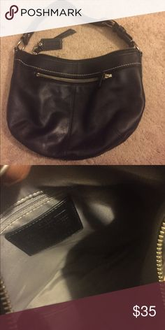 Authentic Small Black Leather Coach Hobo Style Product details Coach Black Leather Large Soho Hobo Bag Silver hardware/o-ring. Black interior. ipper closure. Regular wear. Coach Bags Hobos