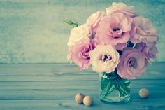 Photo about Gentle Flowers in a glass vase with copy space - vintage style still life, toned. Image of craft, retro, mothers - 52217610