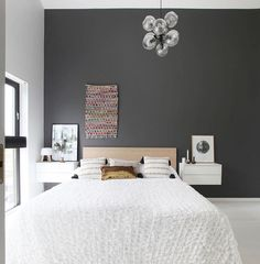 Soft grey and lots of white for the bedroom. Minimal styling with unique pieces. // Ikea 'Valje' nightstands