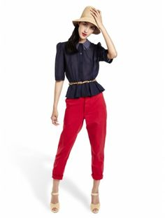 Our EIC Christene is getting rid of these bright-red, super comfy chinos...they could be yours if you hurry!