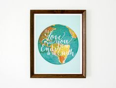 Hand Lettered Typography Print World Globe by WildandFreeDesigns, $12.00
