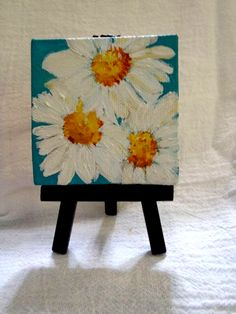 Shasta Daisies Mini Painting Original On Canvas With Mini Easel On Multi Color Background Mini Canvas Daisies Acrylic Painting Flowers Shasta Daisies Painting On Turquoise Blue By Sharonfosterart 22 00 Small Canvas Paintings, Small Canvas Art, Easy Canvas Painting, Mini Canvas Art, Small Paintings, Diy Canvas, Original Paintings, Acrylic Paintings, Acrylic Paint On Canvas