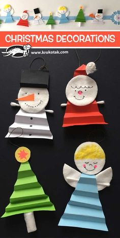 Christmas+Decorations - Christmas Activities For Kids - Paper Christmas Ornaments, Christmas Craft Projects, Preschool Christmas, Christmas Activities, Christmas Crafts For Kids, Christmas Decorations To Make, Simple Christmas, Kids Christmas, Holiday Crafts