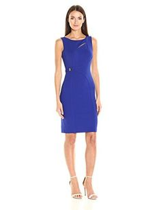 Calvin Klein Women¡¯s Sleeveless Sheath Dress with Neck Cut Out